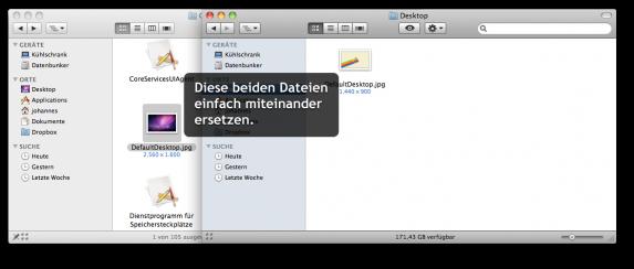 Die beiden zu ersetzenden Dateien