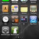 Homescreen des iPhone 4 mit Kackadu.de-Verknüpfung